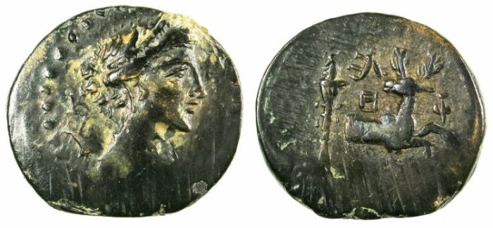 Ancient Coins - IONIA.EPHESUS.C.48-27 BC.AE.22.Artemis. Stag and torch.