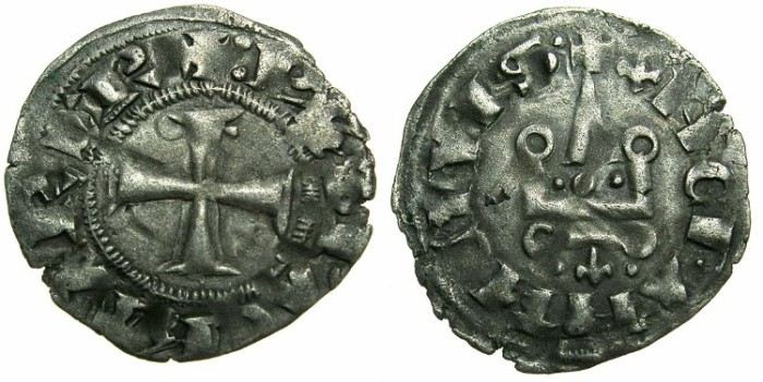 Ancient Coins - CRUSADE STATES.GREECE.Depotate of EPIRUS.Philip of Tarento AD 1294-1313.Billon Denier.Type 2b iii.