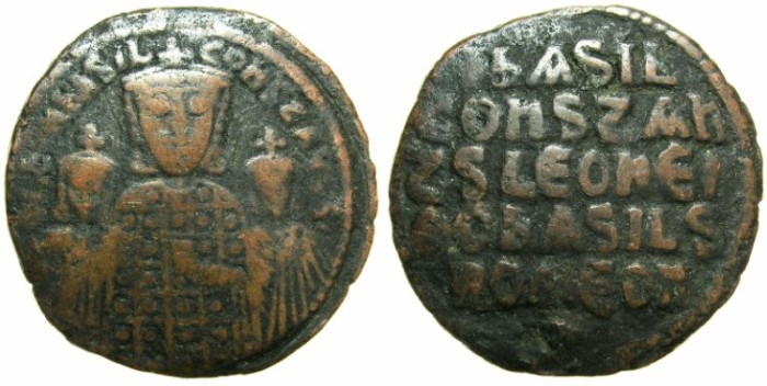 Ancient Coins - BYZANTINE EMPIRE.Basil I The Macedonian AD 867-886,with associate rulers Constantine and Leo VI.AE.Follis.Mint of CONSTANTINOPLE.