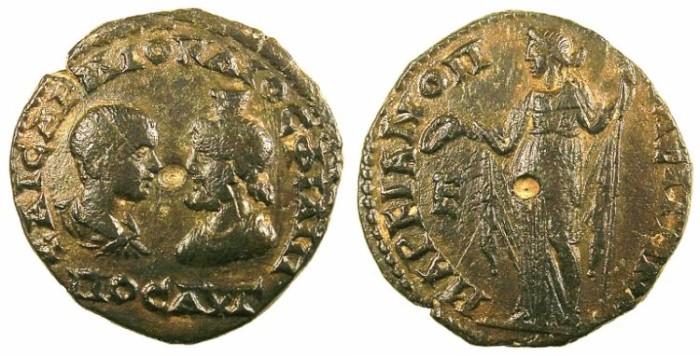 Ancient Coins - MOESIA INFERIOR.Marcianopolis.Philip II AD 247-249.AE.5 Assaria.Hera standing.
