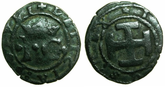 Ancient Coins - PORTUGAL.John II AD 1481-1495.AR.Real or Vinten.N.D.Mint of LISBON.