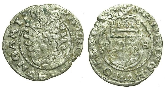 Ancient Coins - HUNGARY.Matthias II AD 1608-1613.AR.Denar 1613.Kremnitz mint.