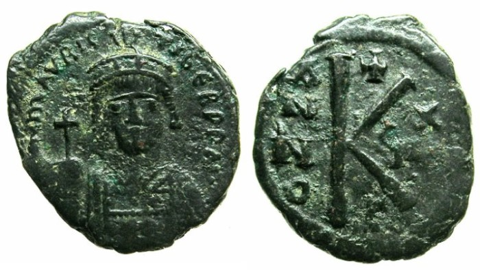 Ancient Coins - BYZANTINE EMPIRE.Maurice Tiberius AD 582-602.AE.Half Follis.Year 18 ( AD 599/600).Mint of CONSTANTINOPLE