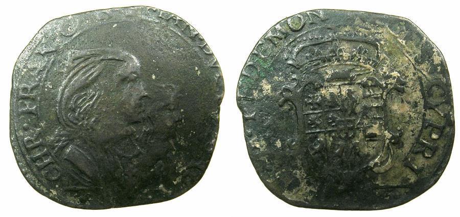 World Coins - ITALY.SAVOY.Carlo Emanuelle II 1639-1675 Regency issue with his mother Maria Cristina 1639-1648.Billon.Mezza Lira.Type VI.1642.