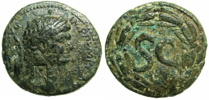 Ancient Coins - SYRIA.SELEUCIA AND PIERIA.Antioch ad Orontem.Domitian AD 81-96.AE.28.~~~countermarked with standing Athena.