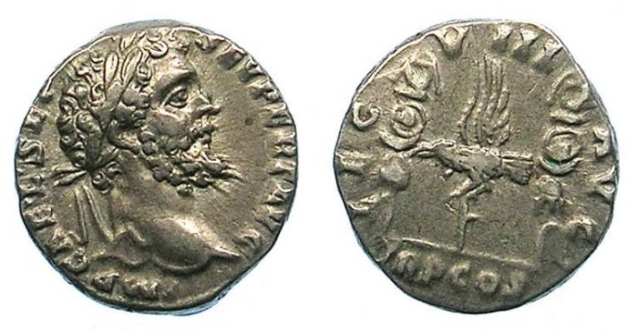 Ancient Coins - ROMAN.Septimius Severus AD 193-211.AR.Denarius.Rev.Eagle between two standards. Sir Charles Oman.