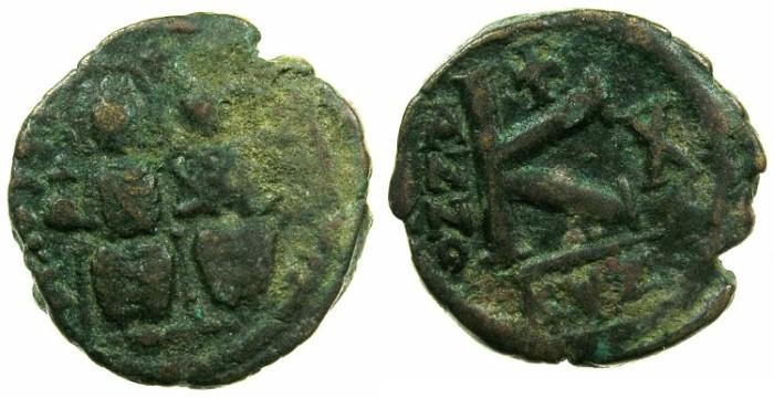 "Ancient Coins - BYZANTINE EMPIRE.Justin II AD 565-578.AE.1/2 Follis "" Moneta Militaris Imitativa"" Mint of CYZICUS."