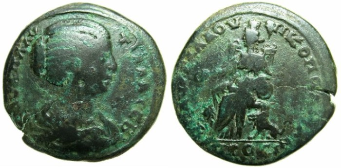 Ancient Coins - THRACE.MOESIA INFERIOR.NIKOPOLIS AD ISTRUM.Plautilla, wife of Caracalla, struck c.202-205?.AE.26.8mm.~#~.Kybele enthroned .***** RARE *****