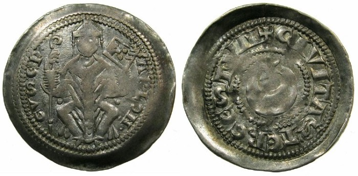 Ancient Coins - ITALY.TRIEST.Arlongus von Voitsberg AD 1254-1280.AR.Denar.~#~.star and crescent.