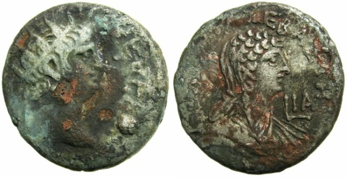 Ancient Coins - EGYPT.ALEXANDRIA.Nero AD 54-68.Billon Tetradrachm.AD 64/65.~~~Excellent portrait of Poppaea but reverse not in great shape.