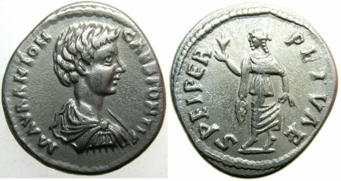 Ancient Coins - ROMAN.Caracalla CaesarAD 196-198.AR.Denarius, undated struck AD 196-198.~#~.Spes advancing.