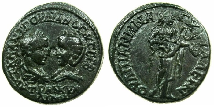 Ancient Coins - THRACE.ANCHIALUS.Gordian III and Tranquillina from AD 241-244.AE.26.2mm.~#~.Hygieia standing holding serpent.