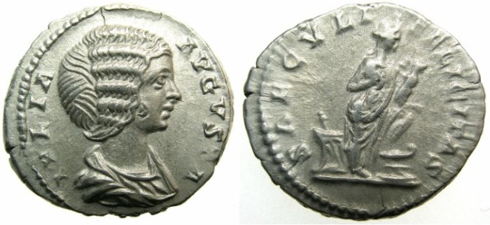 Ancient Coins - ROMAN.Julia Domna Augusta.AR.Denarius 2nd issue c.AD 196-211.~~~Isis with the infant horus.