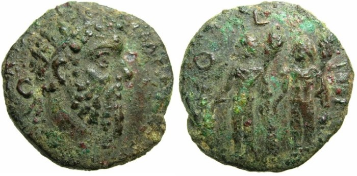 Ancient Coins - SYRIA.COELE - SYRIA.HELIOPOLIS.Septimius Severus AD 193-211.AE.23.Two male figures holding clubs?