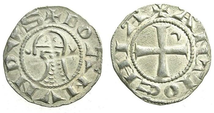 Ancient Coins - CRUSADER.ANTIOCH.Bohemond IV 2nd period 1219-1233 or Bohemond V 1233-1251.Bi.Denier.class O