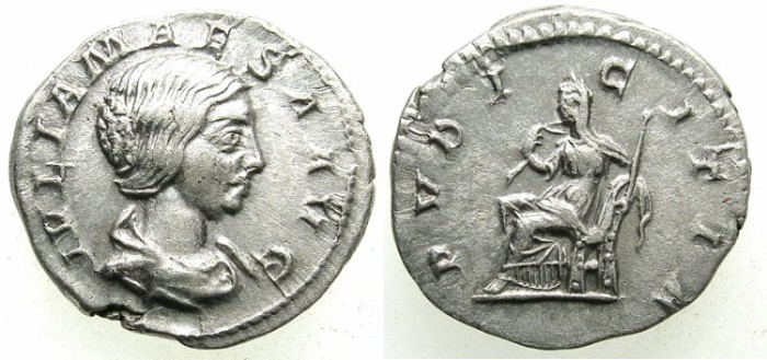 Ancient Coins - ROMAN.Julia Maesa, grandmother of Elagabalus and Severus Alexander.died C.225 AD.AR.Denarius.Pudicitia seated