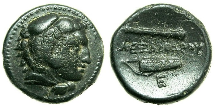 Ancient Coins - MACEDON.Alexander III The Great 336-323 BC.AE.Life time issue.~~~Herakles.~#~Bow case and club.