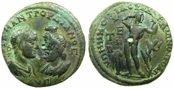 Ancient Coins - MOESIA INFERIOR.MARCIANOPOLOIS.Gordian III and Serapis AD 238-244.AE.5 Assaria.~#~.Apollo standing