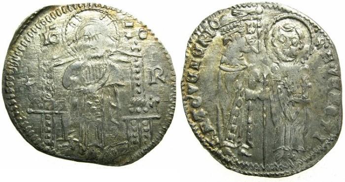 Ancient Coins - ITALY.VENICE.Antonio Venier 1382-1400.AR.Grosso.2nd type.Sigla R.