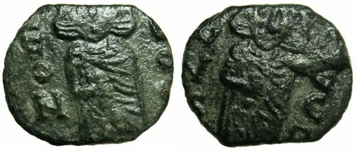 Ancient Coins - BYZANTINE EMPIRE.SICILY.Leo III The Isaurian AD 717-741 with associate Constantine Augustus from AD 720-741.AE.Follis.Mint of SYRACUSE