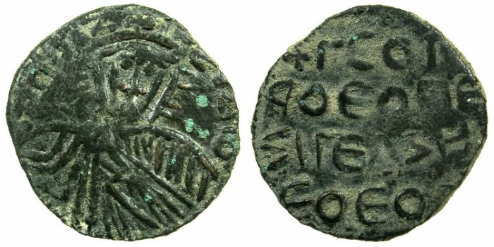 Ancient Coins - BYZANTINE EMPIRE.Barbarous Follis after Leo VI The Wise AD 886-912.
