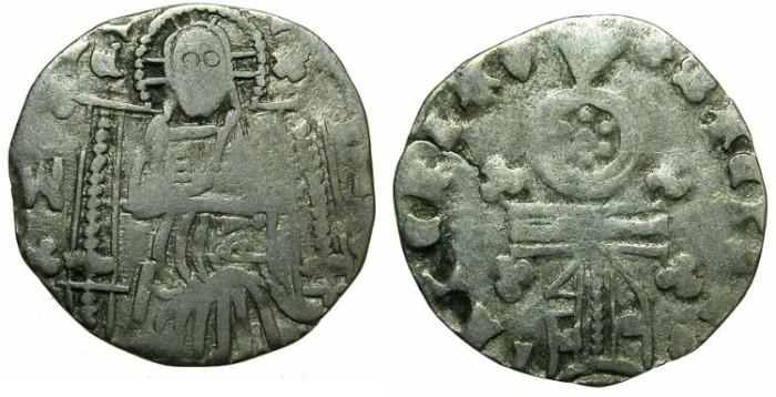 Ancient Coins - SERBIA.Stefan Uros IV Dusan as Emperor AD 1345-1355.AR.Dinar. ~~~Sigla W-T?