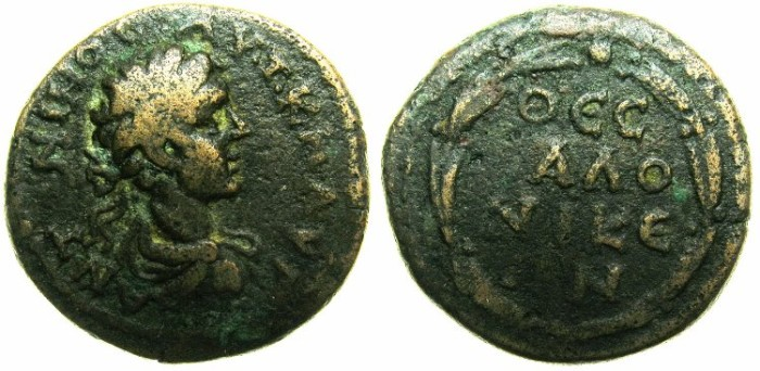 Ancient Coins - MACEDON.THESSALONIKI.Carcacalla AD AD 198-217.AE.~~~Laurate and draped bust of CARACALLA.~#~Laurel wreath.