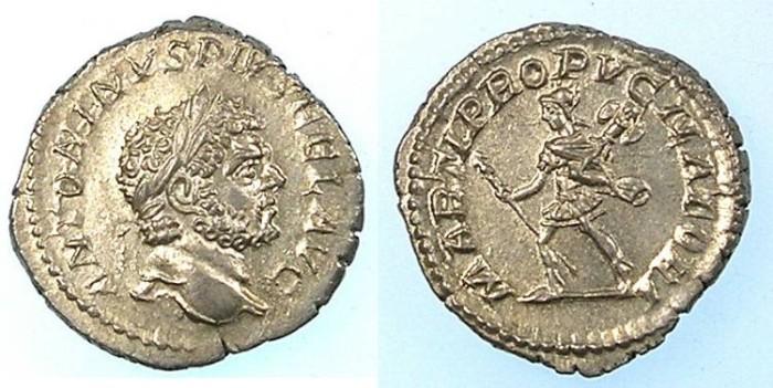 Ancient Coins - ROMAN.Caracalla AD 212-217.AR.Denarius.Mars.