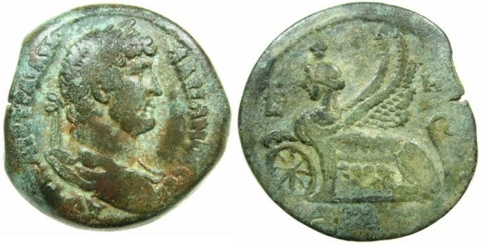 Ancient Coins - EGYPT.ALEXANDRIA.Hadrian AD 117-138.AR.Drachm, struck AD 123/24.~#~.Female griffin.---Interesting altered regnal year 5 to 8.