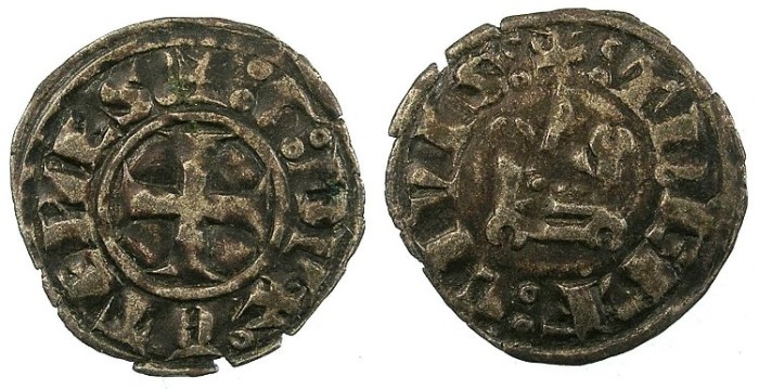 World Coins - CRUSADER.GREECE.Dukes of ATHENS.William I of la Roche AD 1280-87 or Guy II of la Roche AD 1287-1308.Bi.Denier.Type GR 105