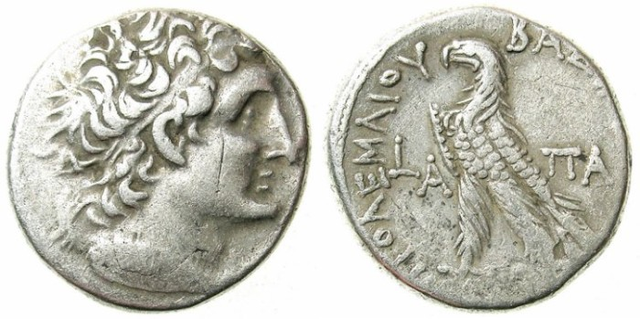 Ancient Coins - EGYPT. ALEXANDRIA.Cleopatra Bereniki III (and Ptolemy XI) 80 BC.or Ptolemy XII 80-51 BC.AR.Tetradrachm.Year One 81-80 BC.