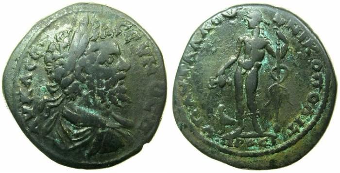 Ancient Coins - MOESIA INFERIOR.MIKOPOLIS AD ISTRUM.Septimius Severus AD 193-211.AE.27mm.~#~.Hermes standing.
