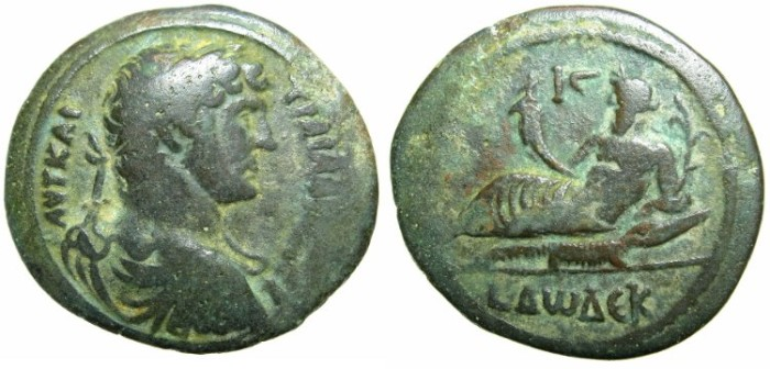 Ancient Coins - EGYPT.ALEXANDRIA.Hadrian AD 117-138.AE.Drachma, struck AD 126/127.~#~.Nilus reclining on Crocodile