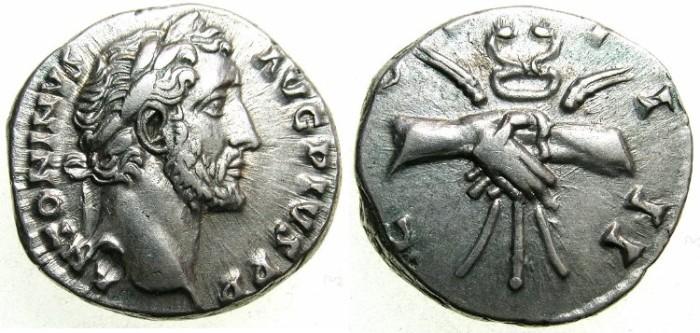 Ancient Coins - ROMAN.Antoninus Pius AD 138-161.AR.Denarius.Struck AD 145-161.~~~Clasped hands holding caduceus and corn ears.
