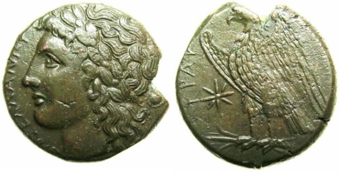 Ancient Coins - SICILY.SYRACUSE.Hiketas 288-279 BC.AE.~~~ZEUS HELLIANOS. Eagle.