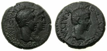 Ancient Coins - THRACE, kingdom. Rhoemetalces circa 11BC-AD 12.AE.24mm.~#~.Rhoemetalces and Queen Pythodoris.~/~.Augustus.