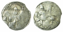 World Coins - SERBIA.Stefan Uros V AD 1355-1371.AR.Dinar.~~~Bust of Christ.~#~.Emperor riding left. RARE.