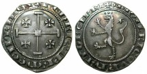 Ancient Coins - CRUSADER STATES.CYPRUS.Henry II with Amaury AD 1306-1310.AR.Gros.