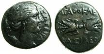 Ancient Coins - SICILY.Agathokles 317-289 BC.AE.20.2mm.~~~Artemis-Soteira. ~#~.Thunderbolt.