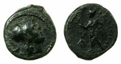 Ancient Coins - APULIA.CELIA.Circa 3rd cent BC.AE.15mm. Athena. Male figure holding palm branch. *** Extremely Rare ***