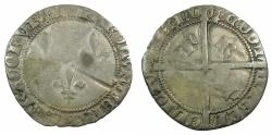 World Coins - FRANCE.Charles VII AD 1422-1461.Billon.Blanc aux trois lis.