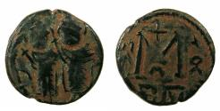 Ancient Coins - ARAB BYZANTINE.Anonymous 7th AD.AE.Fals. Mint of BAALBEK / HELIOPOLIS.Contempory imitation.
