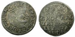 World Coins - POLAND.Stefan Batory AD1575-1586.AR.Trojak ( 3 Grosze ).1580.Mint of VILNIUS