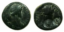 Ancient Coins - MYSIA.PERGAMUM.Pseudo Autonomous circa AD 40-60.AE. Countermarked with a Bee and letter Ephesus?