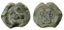 Ancient Coins - BYZANTINE EMPIRE.AD6th-7th cent.Pb.Seal. Saint riding. Reverse.Monogram.