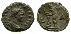 Ancient Coins - EGYPT.ALEXANDRIA. Claudius II Gothicus AD 268-270.Billon Tetradrachm, struck AD 268/69.~#~. Poseidon standing left. ****RARE REVERSE TYPE FOR CLAUDIUS, AND THE ALEXANDRIAN SERIES.