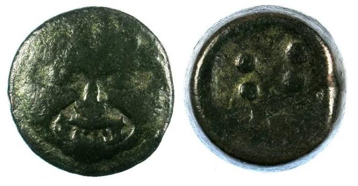Ancient Coins - SICILY.Himera.c.430-420.AE.Hemilitron 28mm.Gorgorneion Rev.6 Pellets.
