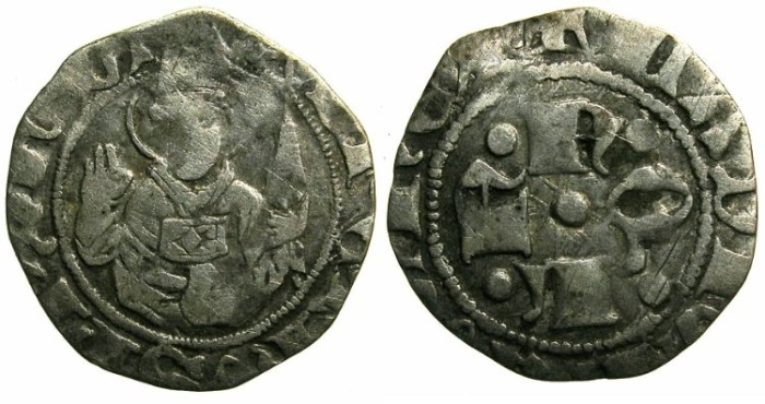 Ancient Coins - ITALY.Kingdom of Naples.Ladislas of Hungary AD 1386-1414.AR.Bolognino.Class 2.Mint of L'Aquila.