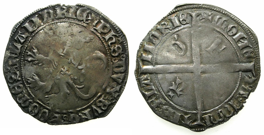 World Coins - LOW COUNTRIES.FLANDERS.Philip The Good AD 1419-1467.AR.Double Gros, struck circa 1419-1428.