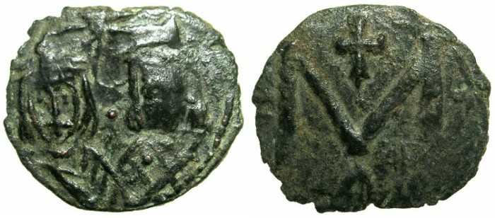 Ancient Coins - BYZANTINE EMPIRE.Michael II AD 820-829 with Theophilus associate from AD 821.AE.Follis.Mint of SYRACUSE.